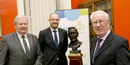 PLUNKETT AWARD - The outstanding contribution to the Irish co-operative movement by the former CEO of the Irish Farm Accounts Co-operative Society (IFAC), Peadar Murphy, has been recognised nationally by the industry's highest honour - The Plunkett Award for Co-operative Endeavour. Pictured (left to right): Martin Keane, President and T.J. Flanagan, CEO of the Irish Co-operative Organisation Society (ICOS), with The Plunkett Award recipient Peadar Murphy.